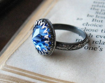 Gothic Crown Bezel Oxidized Sterling Silver Ring Sapphire Blue Vintage Swarovski Crystal