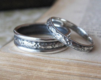 Diamond Pattern Wedding Band Set in sterling silver bridal rings wedding bands