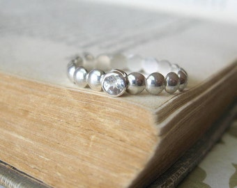 Modern Geometry Stack Ring in Sterling Silver with White Topaz