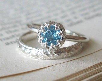 Blue Topaz Alternative Engagement ring Promise Ring Let them Eat Cake  Sterling Silver