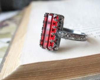 Ruby Color Ring Sterling Silver Gothic Ring Rectangle Blood Red Crystal
