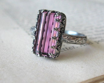Sterling Silver Statement Ring Rectangle Aubergine Purple Crystal