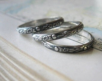 Stacking Rings Oxidized Sterling Silver Moon Flowers Pattern Set of Three