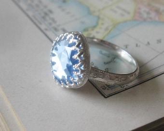 Square Vintage Crystal in Sterling Silver Light Blue Color