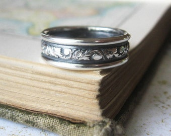 Scroll  Wedding Band Mens Single Ring Sterling Silver Wide Size US 9 Ready to ship