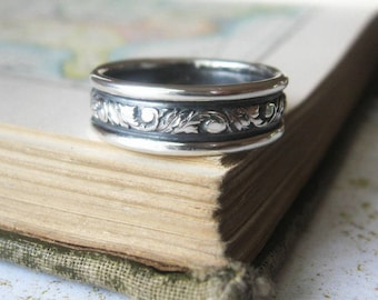 Scroll Mens Wedding Band Ring Sterling Silver Wide Oxidized Sterling Silver Expanded Sizes