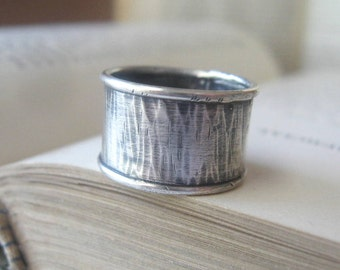 Wedding Bands Sterling Silver Wide Birch Pattern size 7 Ready to ship