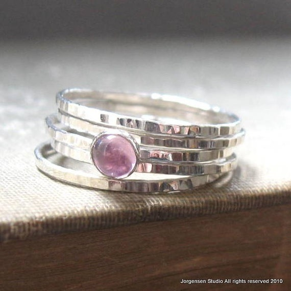 Pink or Red Hammered Bright Sterling Silver Stacking Rings Set