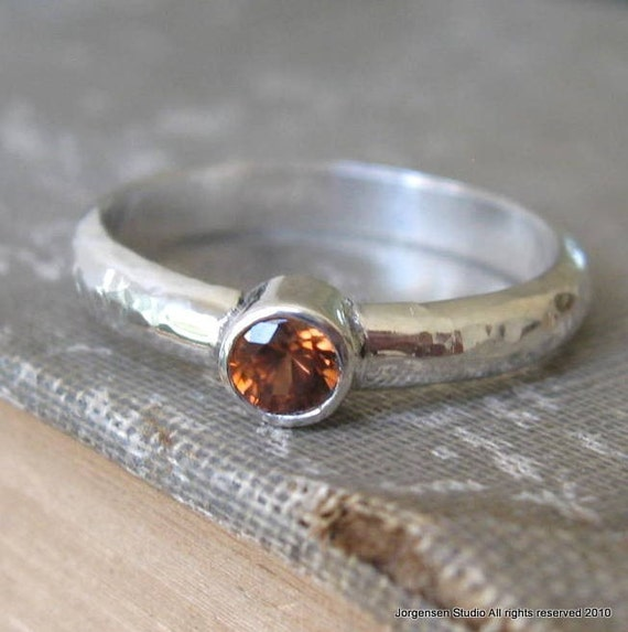Last One - Sterling Silver Hammered Band Ring with Orange Zircon Gemstone size 7.5 ready to ship