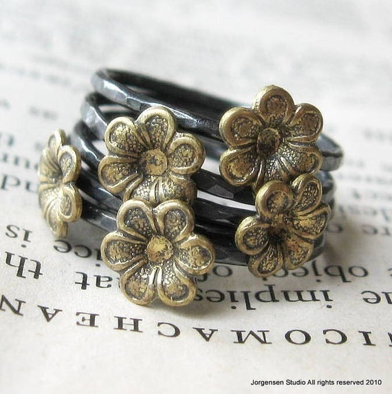 Flower Stack Set of Five Rings Sterling and Brass
