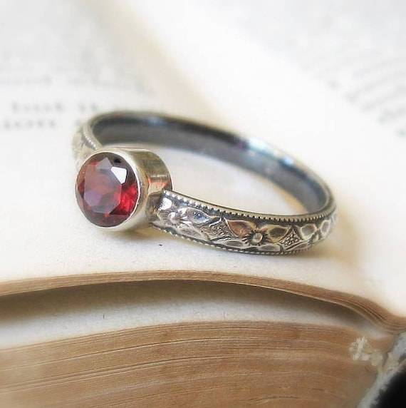 Garnet Promise Stacking Ring Oxidized Sterling Silver