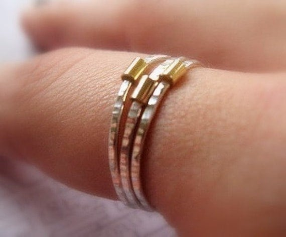 Silver and Gold Stack Ring - Set of Three
