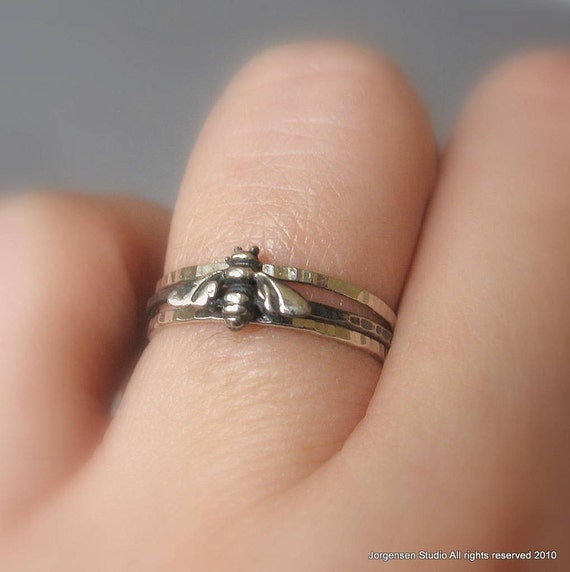 Hammered Bee Ring Stack Set Sterling Silver size 6 ready to ship