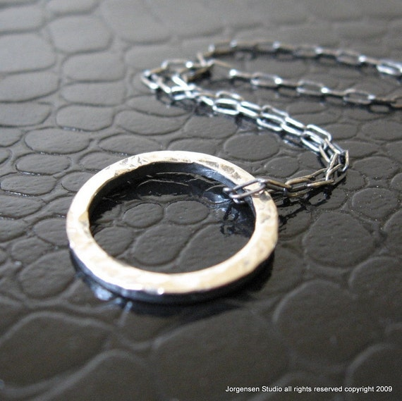 Sterling Silver Enso Pendant for Men or Women  Hammered Small version