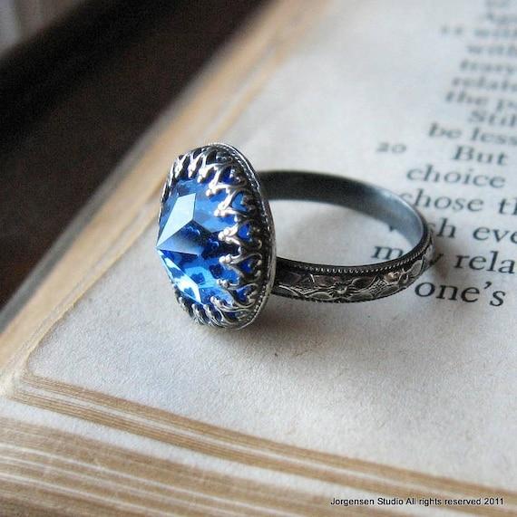 Gothic Crown Bezel Oxidized Sterling Silver Ring Sapphire Blue Vintage Swarovski Crystal