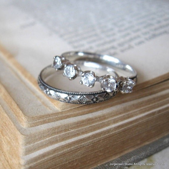 Anniversary Band 5 Stone Wedding or Stack Ring Sive 7.5 ready to ship