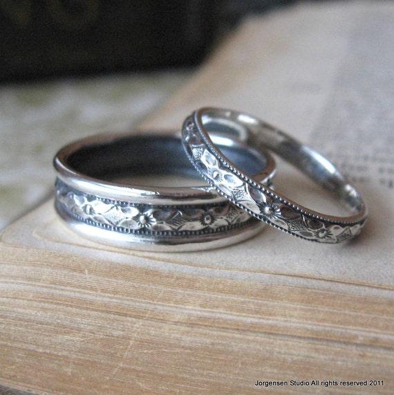 Diamond Pattern Wedding Band Set in sterling silver bridal rings wedding bands