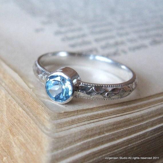sterling silver gemstone ring blue topaz handmade promise