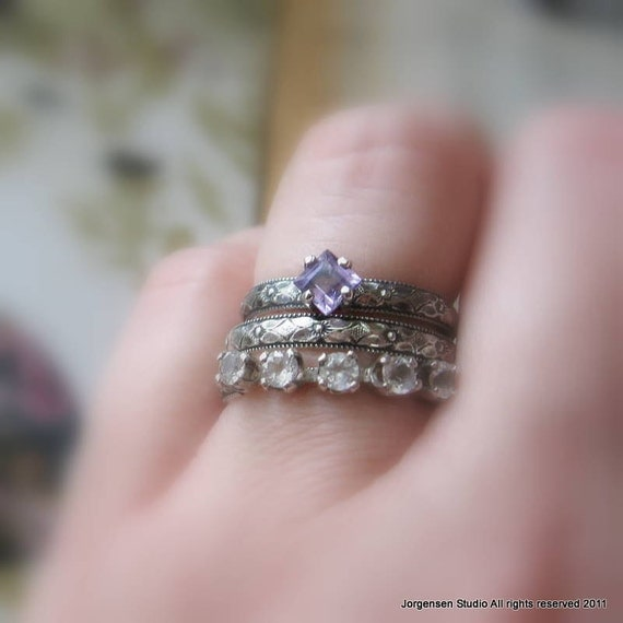 Square Princess Cut Amethyst Engagement Ring Promise Ring Or