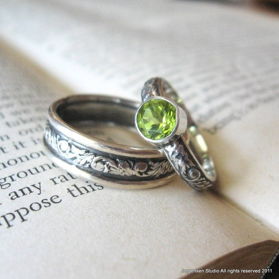 Promise Ring Engagement Ring Sterling Silver Peridot Gemstone