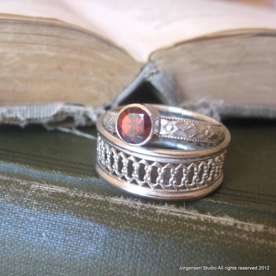 garnet gemstone promise ring stacking ring bright sterling