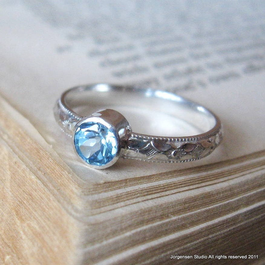 sterling silver gemstone ring blue topaz handmade promise