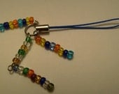 M06 - MultiColored Cell Phone Charm or Zipper Pull