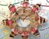 Handmade Lampwork glass bead, pink star pendant or focal bead, art glass jewelry supplies, SRA beading supplies