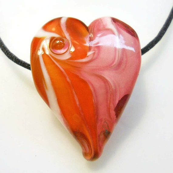 Heart necklace, lampwork glass beads large hole jewelry, red and pink, pendant or focal SRA art glass, BHB