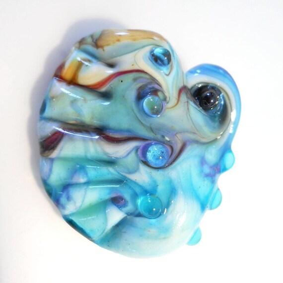 Handmade lampwork glass bead, aqua 'sea comb' pendant SRA ocean jewelry supplies, Isinglass Design... glassbead