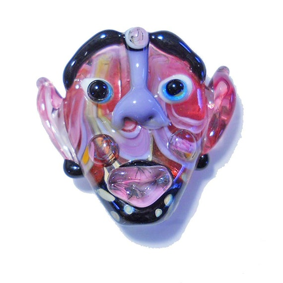 Handmade Lampwork glass bead mask, ' In the Pink' people, face jewelry, face pendant or focal, SRA by Isinglass Design