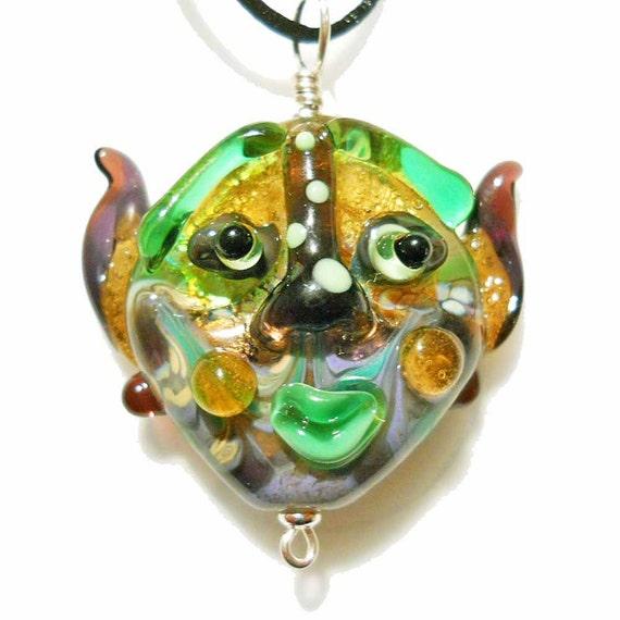 Handmade lampwork glass bead mask, purple green and gold Halloween face pendant necklace, Mardi Gras focal, SRA  by Isinglass Design