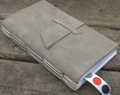2008 Weekly Planner - grey suede leather - Handbound