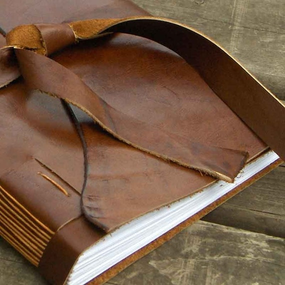 Classic Brown Leather Journal - tied strap - 240 pages
