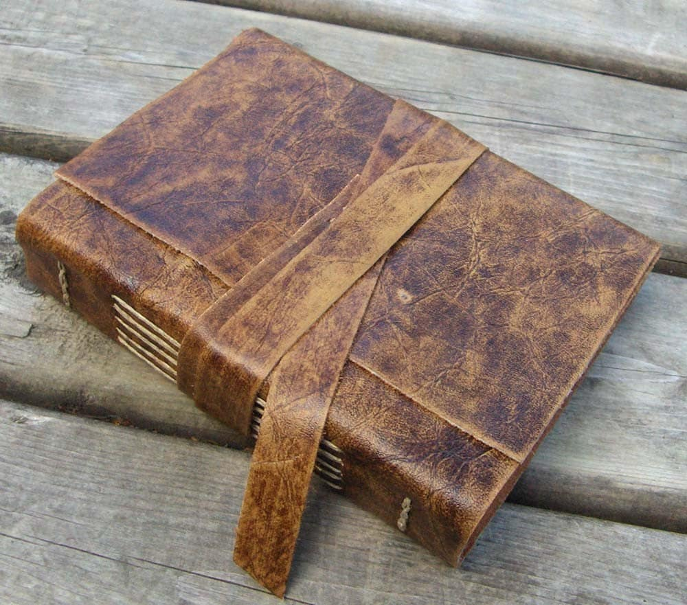 Distressed Brown Leather Journal Handbound 320 Pages