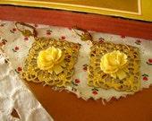 SALE brass filigree earrings with cream rosette detail