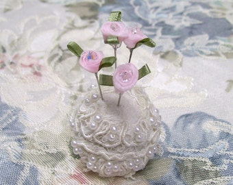 Shabby Chic, Pink, Cottage, PinCushion, Floral Pins, recycled bottle cap, Pin Cushion