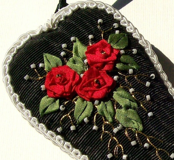 RESERVED FOR sipsee Embroidery Scissor Case Silk Ribbon Embroidered