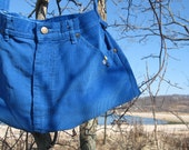 Blue corduroy purse upcycled HALF OFF SALE