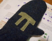 Green recycled wool mitts with Pi   REDUCED PRICE