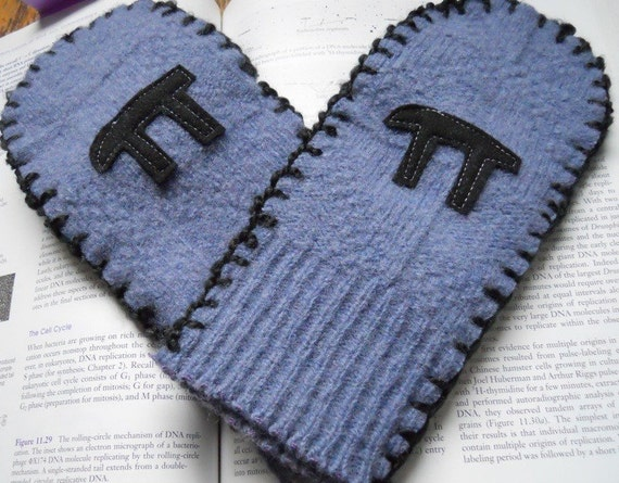 Wool mittens with pi warm winter upcycled sweater geek nerd slate blue
