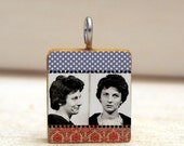 MUGSHOT collage art pendant necklace - scrabble tile charm - red white and blue