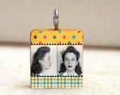 MUGSHOT Scrabble Tile Pendant necklace - collage art pendant - citrus plaid