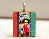 MONKEY SHOW Collage Art Pendant necklace - scrabble tile charm - reversible