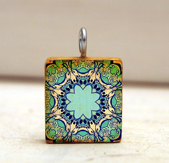 Scrabble Tile Pendant necklace - KALEIDOSCOPE collage art pendant - aquamarine