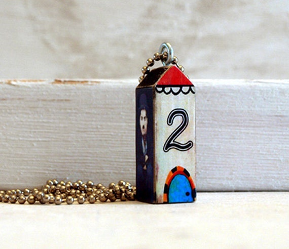 wood house charm necklace - digital collage pendant - CHAPLINS HOUSE - number 2