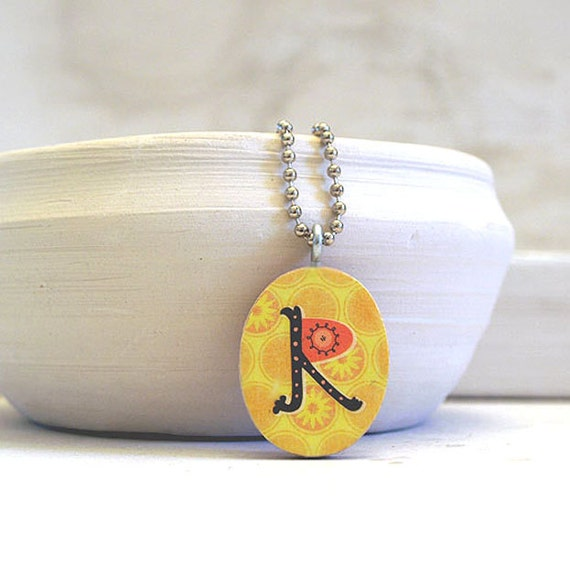 initial charm necklace - monogram pendant - letter R - reversible design