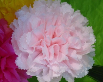 """Paper Carnations,5.5"""", Dozen,Open Tissue Paper flower,red pink fucshia teal turquoise white lavender"""