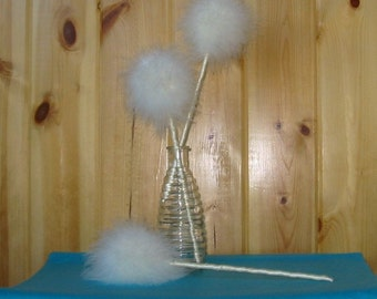 Feather Wishie Wand with satin ribbon stems, chenille stems, Truffala, fairy, Tinkerbell,dandelion,winter, birthday, party birthday