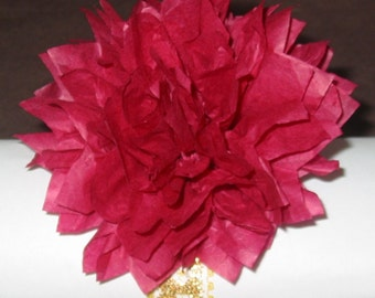 100 Napkin Rings, tissue paper flower with  lace bands, ready to use, unfurled,complete, wedding, burlap